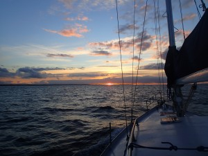 First sunset on the boat - Tasmania