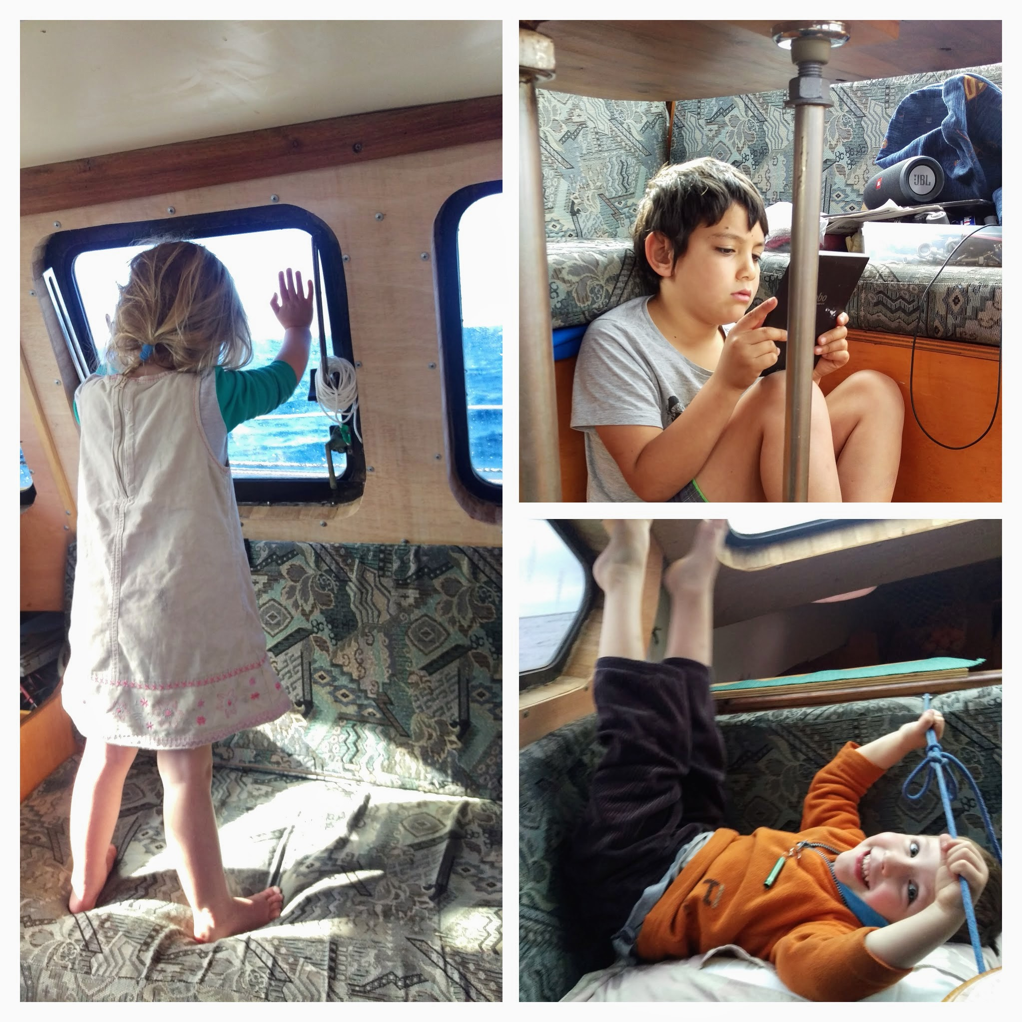 The kids during their first 2-day sail: Freyja watching the whales, Markito with a good spot under the table for some reading, Zach playing on the couch.