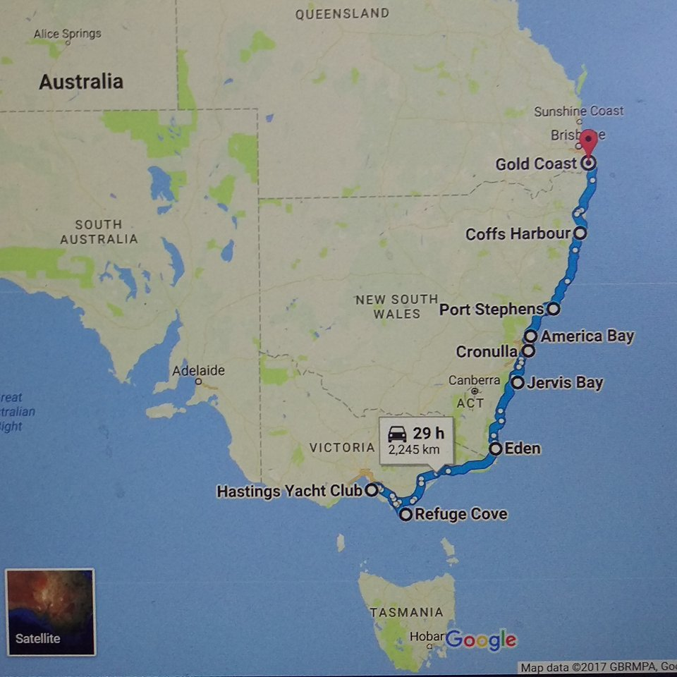 A map of our first month of travel from Hastings to the Gold Coast. 9 June - 10 July 2017